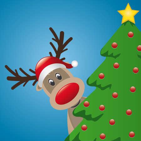 nosed: reindeer with santa hat behind christmas tree