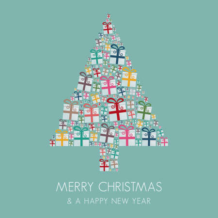 many gift box colorful christmas tree stack Vector