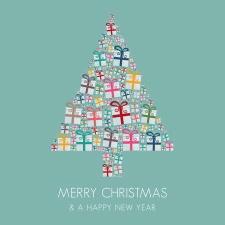 christmas gifts: many gift box colorful christmas tree stack Illustration