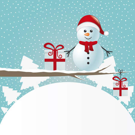 snowman figure on branch snowy winter landscape Vector