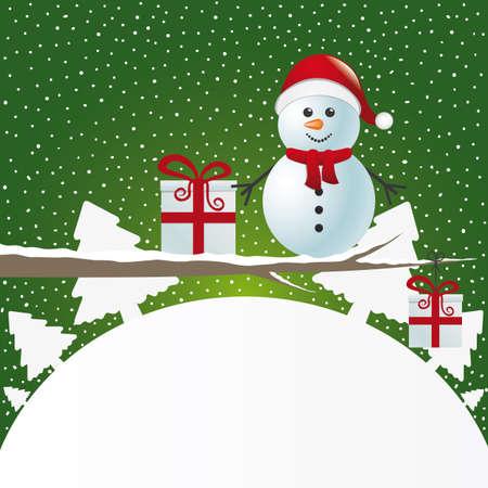 boule de neige: la figure bonhomme de neige sur la branche enneig�e paysage d'hiver