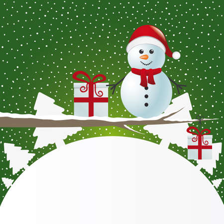 snowman background: snowman figure on branch snowy winter landscape