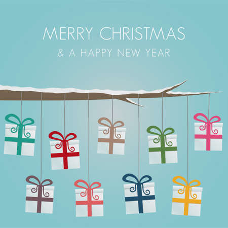 �advent: cajas de regalo colgar en la rama de �rbol de bramante