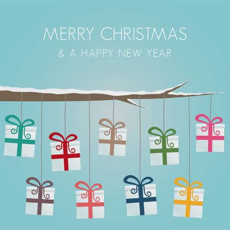 scatole regalo appendere sul ramo di albero spago