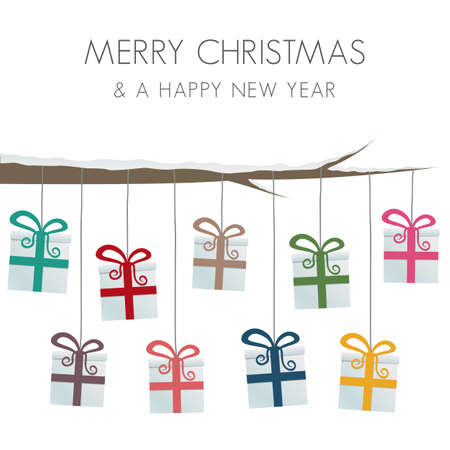 christmas tide: gift boxes hang on twine tree branch