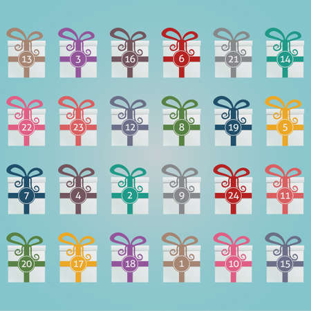 yule tide: colorful gift boxes advent calendar blue background Illustration