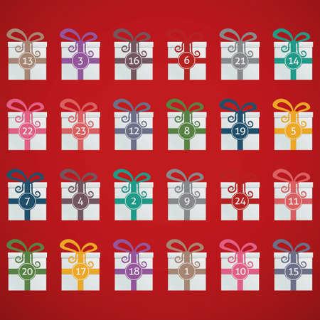 december kalender: kleurrijke geschenk dozen advent kalender blauwe achtergrond Stock Illustratie