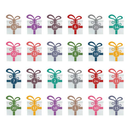 christmas tide: colorful gift boxes advent calendar blue background Illustration