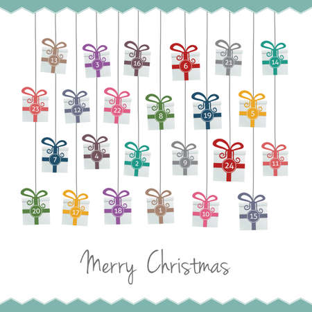 christmas tide: gift boxes hang on twine advent calendar