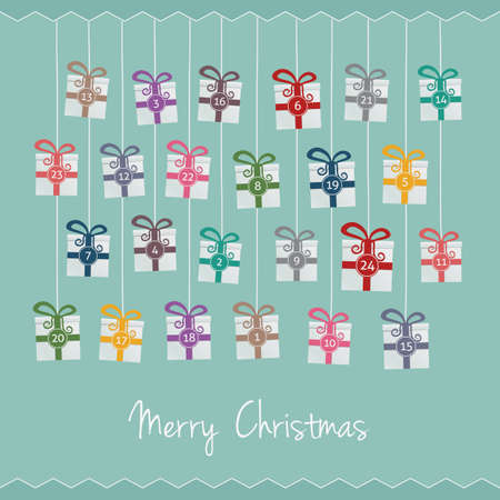 gift boxes hang on twine advent calendar Vector