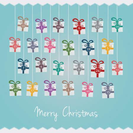 adviento: cajas de regalo colgar en cuerda Calendario de Adviento Vectores