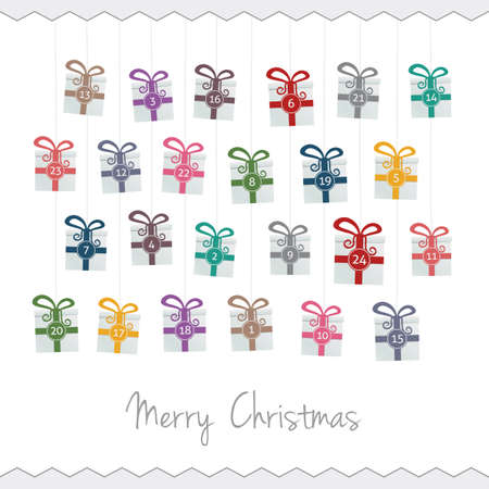 gift boxes hang on twine advent calendar Stock Vector - 16203131