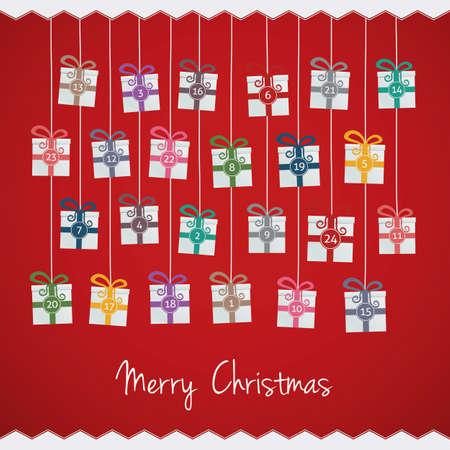 calendario diciembre: cajas de regalo colgar en cuerda Calendario de Adviento Vectores