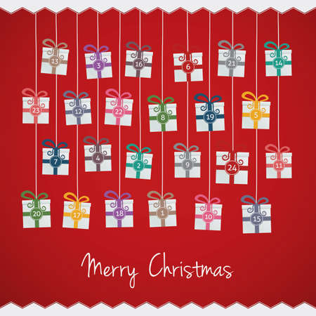 december holidays: gift boxes hang on twine advent calendar