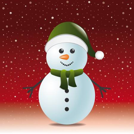snowman with scarf hat red snow background Vector