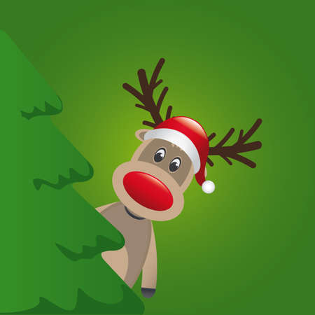 christmas holiday background: reindeer with santa hat behind christmas tree