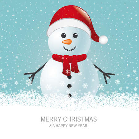 snow background: snowman with scarf hat brown snow background