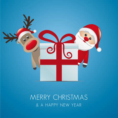 reindeer santa claus christmas gift box red Stock Vector - 16203314