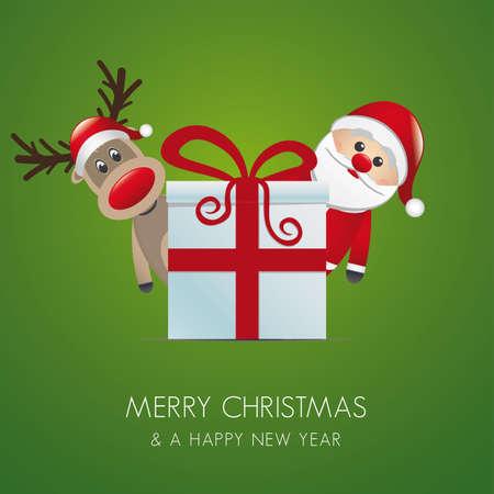 reindeer santa claus christmas gift box red Stock Vector - 16203326