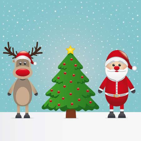 santa claus reindeer and christmas tree snowy