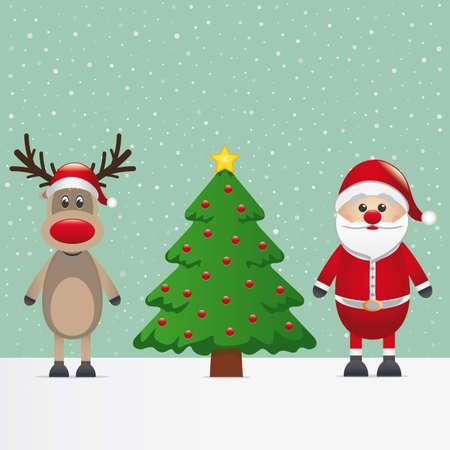 nariz roja: Santa Claus renos y nieve del árbol de navidad