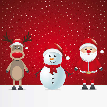 santa claus reindeer and snowman winter snowy Vector