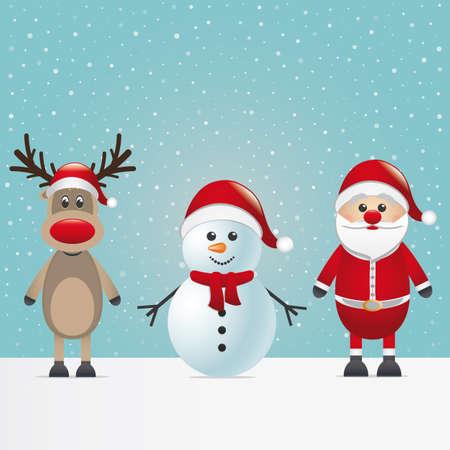 blue santa: santa claus reindeer and snowman winter snowy