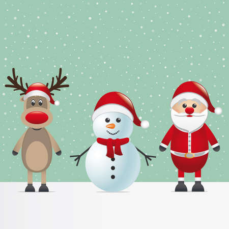 snowman: santa claus reindeer and snowman winter snowy