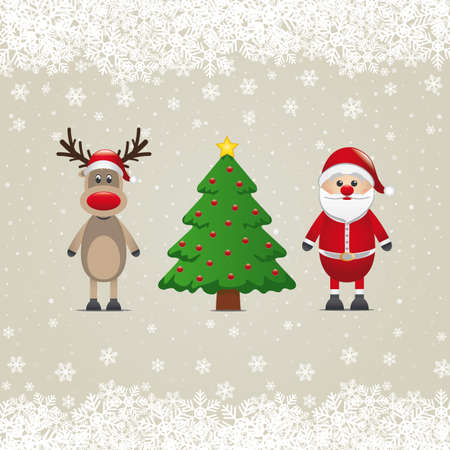 nosed: santa claus reindeer and christmas tree snowy