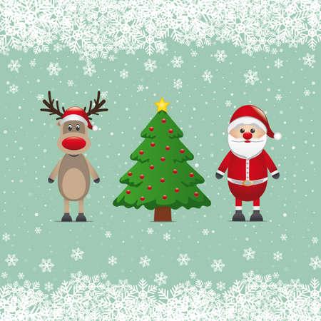 santa claus reindeer and christmas tree snowy Stock Vector - 16272797