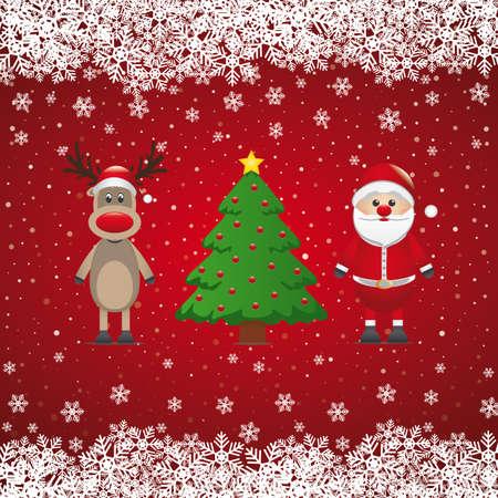 red nosed reindeer: santa claus reindeer and christmas tree snowy