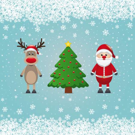 santa claus reindeer and christmas tree snowy Stock Vector - 16272801