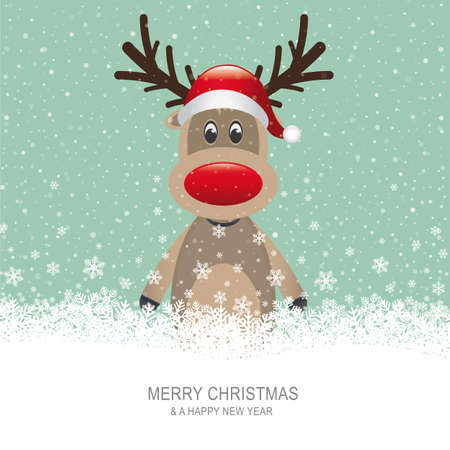 red snowflake background: reindeer with red hat brown snow background