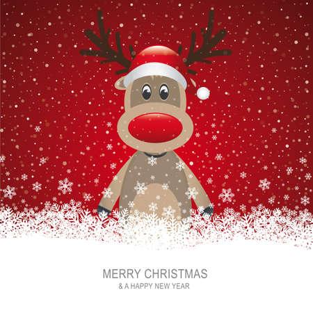 boule de neige: renne avec chapeau rouge de fond brun de neige