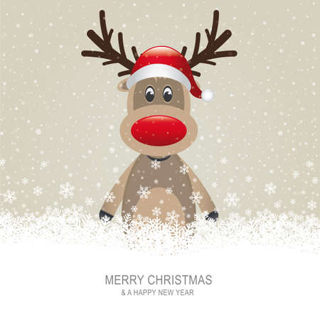 cartoon reindeer: reindeer with red hat brown snow background