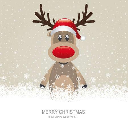 reindeer christmas: reno con fondo rojo sombrero marr�n nieve