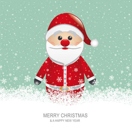santa claus with hat snow snowflake background Vector