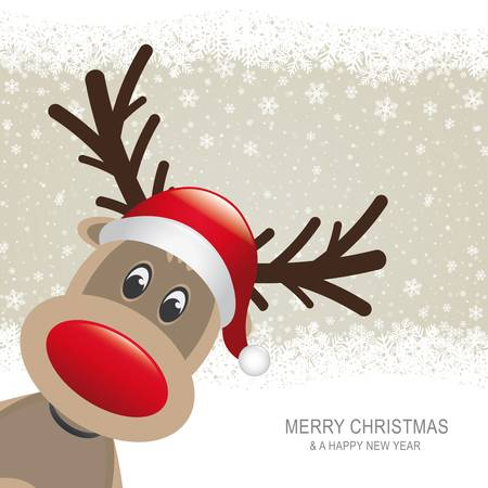 reindeer red hat brown snow snowflake background Vector