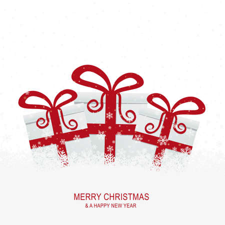 christmas gift boxes on snowy isolated background Stock Vector - 16272829