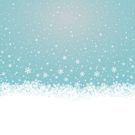 boule de neige: flocon de neige tombent �toiles bleues sur fond blanc Illustration