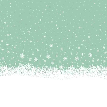 snowball: fall snowflake snow stars green white background