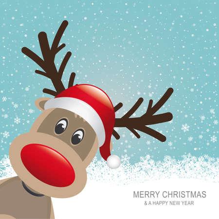 renos de navidad: reno rojo sombrero nieve copo de nieve azul de fondo Vectores