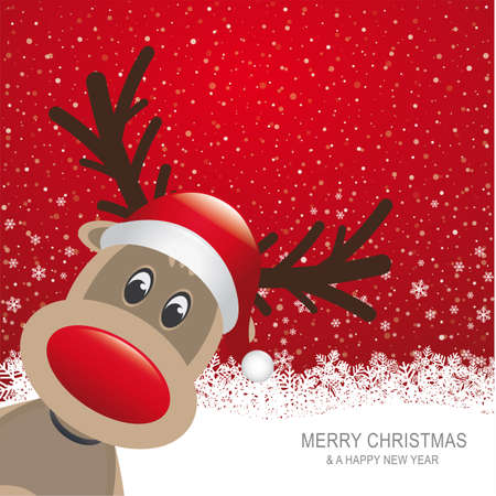 cartoon reindeer: reindeer red hat snow snowflake red background Illustration