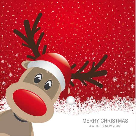 reindeer: reno rojo sombrero nieve copo de nieve de fondo rojo Vectores