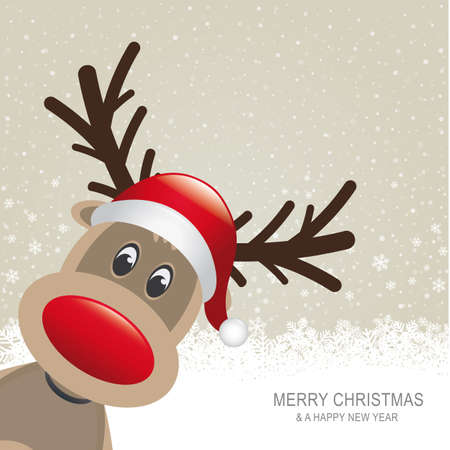 reindeer red hat snow snowflake brown background