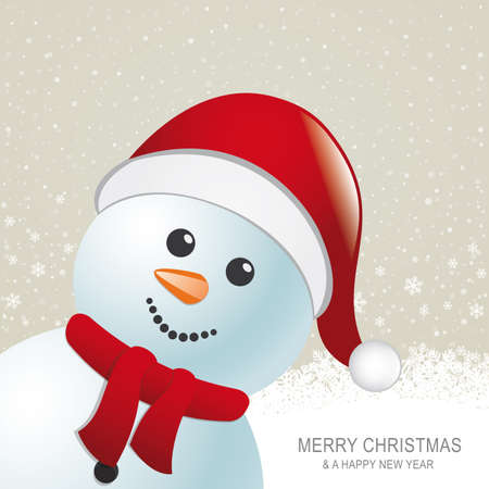 snowman red hat snow snowflake snow background Vector