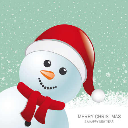 snowman red hat snow snowflake snow background Illustration