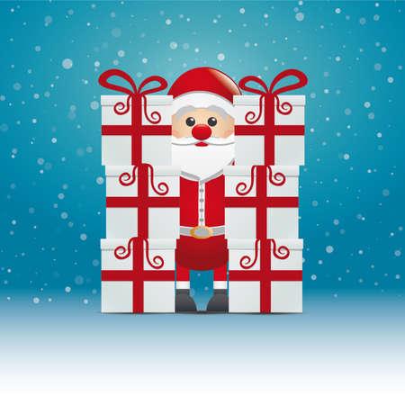 suprise: santa behind gift stack snowy winter background