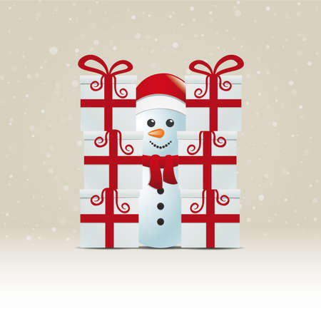 snowman behind gift stack snowy winter background Stock Vector - 16429382