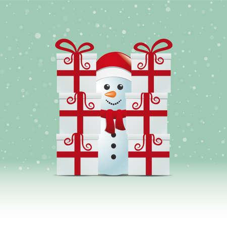 boule de neige: bonhomme de neige derrière la pile cadeau d'hiver arrière-plan neigeux